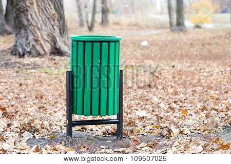 Green Trash Bin In The Park
