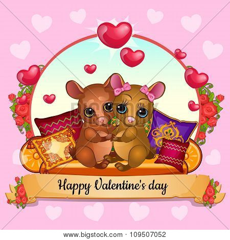 Greeting card for Valentines Day with cute hamsters hugging
