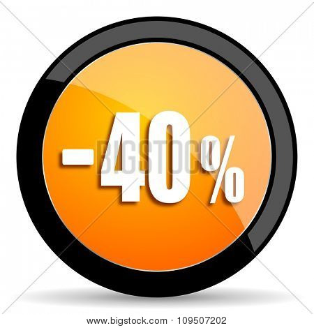 40 percent sale retail orange icon