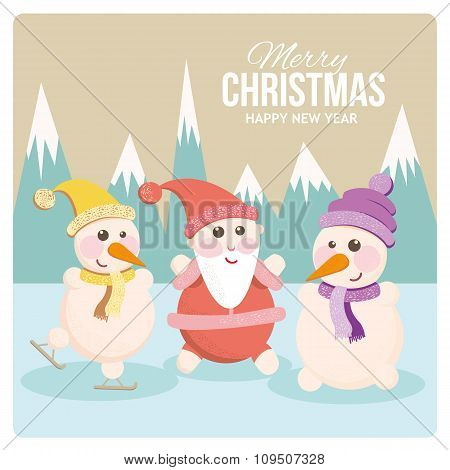 Santa and snowman on a cheerful holiday card