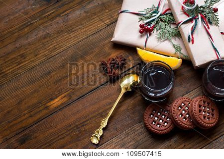 Christmas Gifts, Coffee And Dessert Oranges