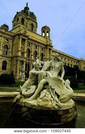 Fountain In Vienna Maria Theresa Square, Vienna, Austria