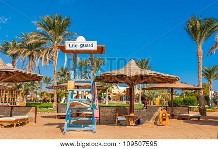 Place For Life Guard At The Coast Of Red Sea