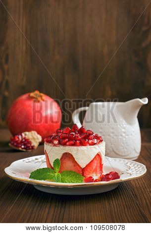 Cake With Pomegranate And Strawberry