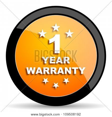 warranty guarantee 1 year orange icon
