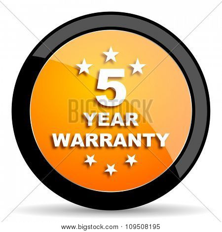 warranty guarantee 5 year orange icon