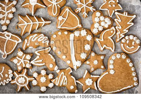 Various Tasty Gingerbread Cookies On The Tray