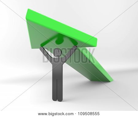 Black 3D Stickman Lifts Arrow
