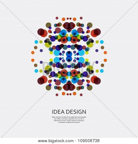 Vector colorful pattern of dots. Circular ornament for design