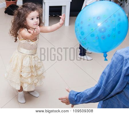 Kids Playing Balloon At Home