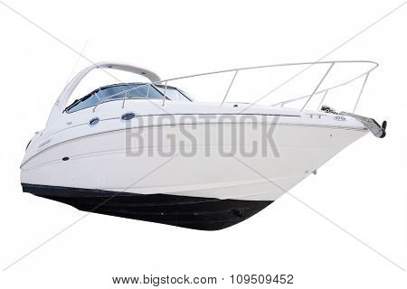The image of an passenger motor boat in a hubborn of Tivat, Montenegro
