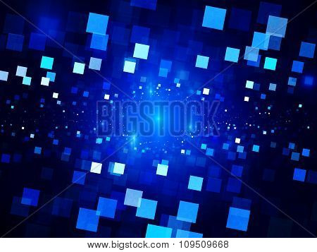 Blue Glowing Squares In Space