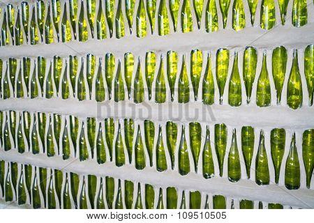 Wall of  green bottles
