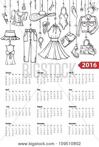Calendar 2016 year.Summer fashion set.Linear