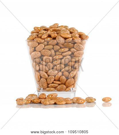 Pinto Beans In  Plastic Bowl Isolated On A White Background