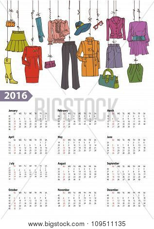 Calendar 2016 year.Woman fashion set.Colored