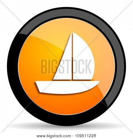 yacht orange icon