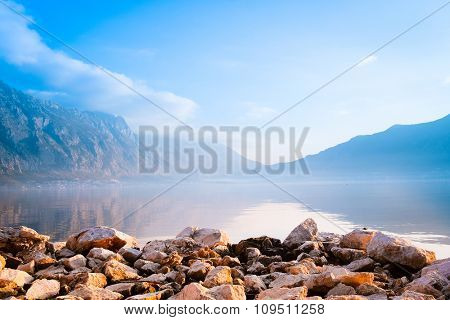Landscape with the image of sea and mountains