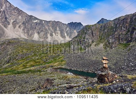 Cairn In Mountain Tundra