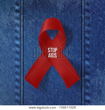 World AIDS Day Symbol. Realistic red Ribbon