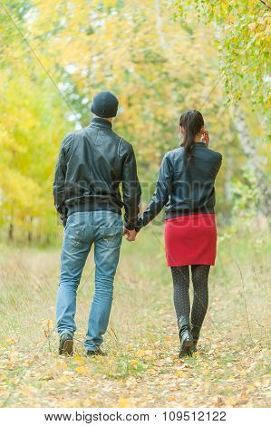 Affectionate couple taking walk in autumn park