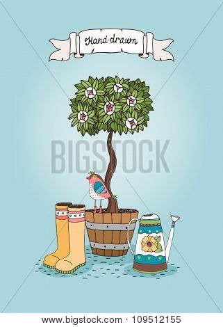 Set of hand-drawn tree in a pot with bird, watering can and rubber boots
