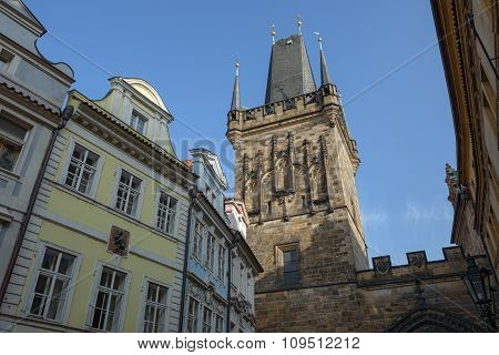 Tower Of Charles Bridge On Lesser Town Side In Prague.