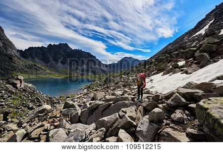 Woman On The Background Of Mountain Scenery