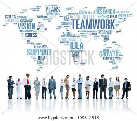 Global Business People Togetherness Support Teamwork Concept
