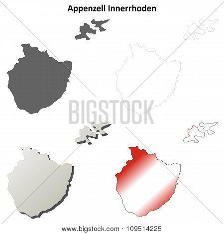 Appenzell Innerrhoden blank detailed outline map set