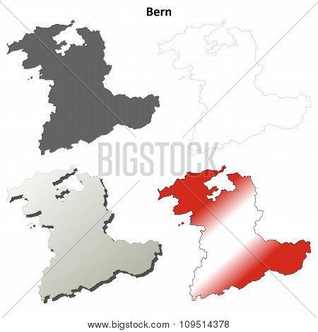 Bern blank detailed outline map set