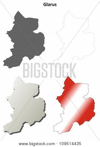 Glarus blank detailed outline map set