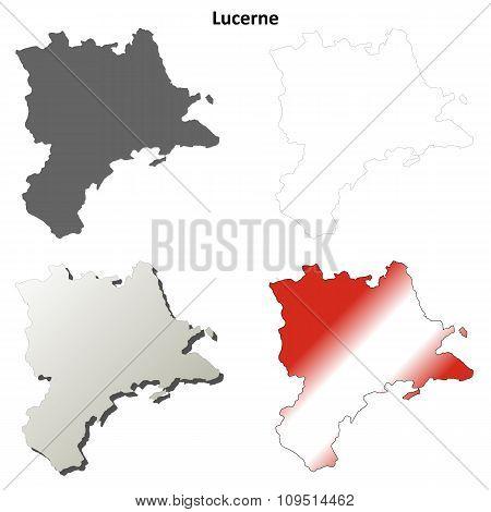 Lucerne blank detailed outline map set