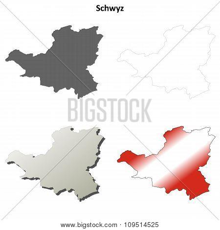 Schwyz blank detailed outline map set