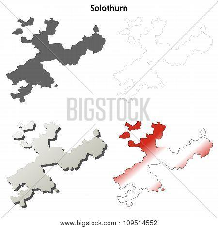 Solothurn blank detailed outline map set