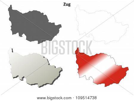 Zug blank detailed outline map set