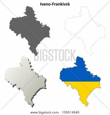 Ivano-Frankivsk blank outline map set