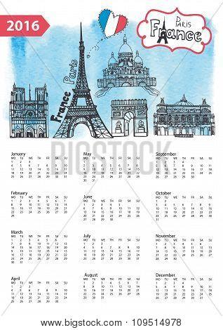 Calendar 2016.Paris Landmarks skyline,watercolor splash
