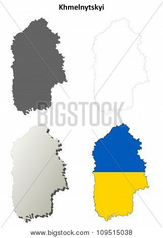 Khmelnytskyi blank outline map set