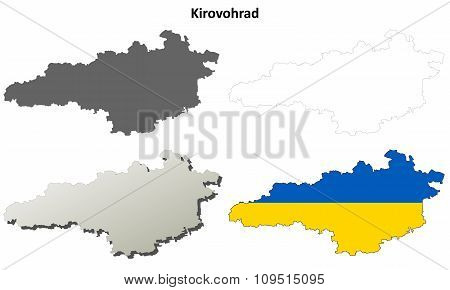 Kirovohrad blank outline map set
