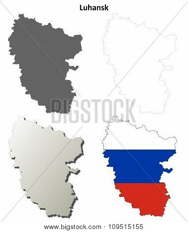 Donetsk blank outline map set - Russian version