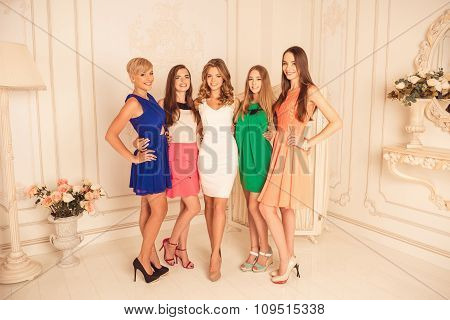 Beautiful Girlfriends In Dresses  Celebrating Hen Party