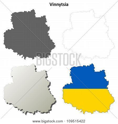 Vinnytsia blank outline map set