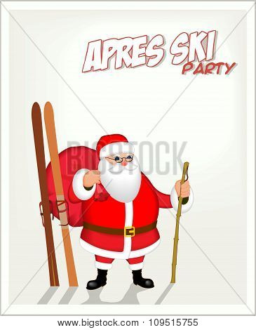 Banner with Santa and skiing. Apres ski party poster.