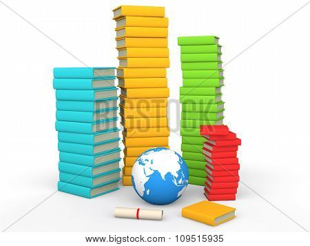 3d stack of books with earth globe