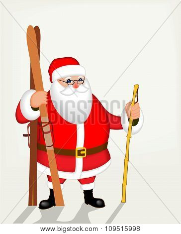 Funny Santa Claus with skis. Vector poster