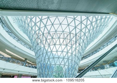 glass architecture in modern shopping mall