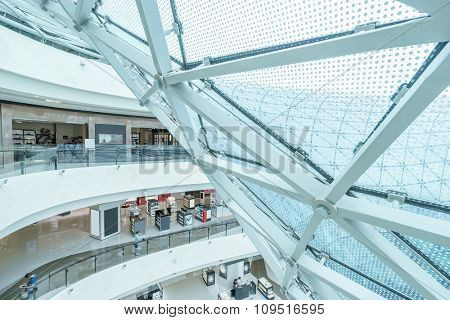part of glass architecture and hallway in shopping mall