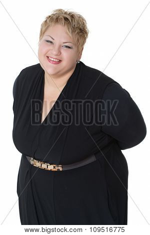 happy fat woman. Isolated on white background. joy