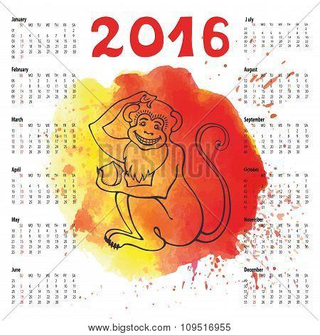Calendar 2016.Chinese zodiac monkey.Watercolor splash